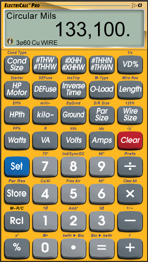 Electricalc pro app mobile apps software calculated industries keyboard keysfo Images