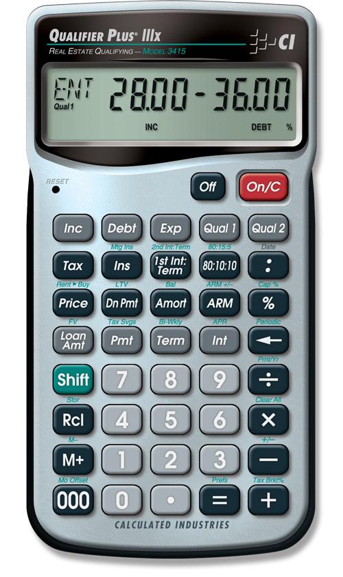 Qualifier Plus IIIx   Finance Calculators   Calculated Industries