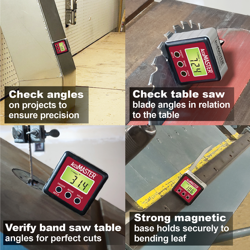 Bevel Gauge Certified IP54 Dust and Water Resistant Calculated Industries 7434 AccuMASTER 2-in 1 Magnetic Digital Level and Angle Finder Latest MEMs Technology Inclinometer